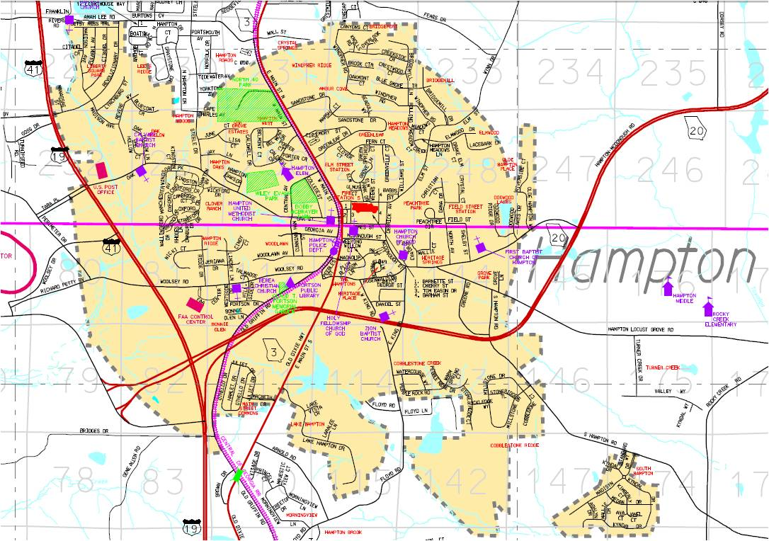 City Maps Hampton GA - City map of georgia
